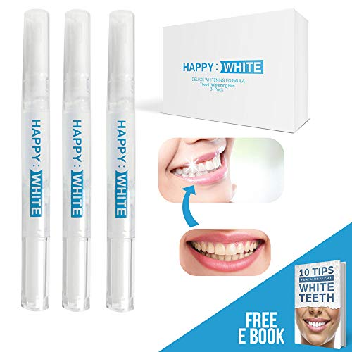 ((3-Pack) Teeth Whitening Pen - Safe 35% Carbamide Peroxide Gel - No Sensitivity - Effective - Painless - Travel-Friendly - Easy to Use - Smart Tooth Whitener Pens - Natural Power Swabs by HAPPY WHITE)