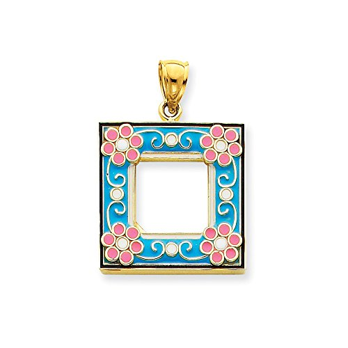 Enameled Picture Frame Pendant - 14k Aqua Enameled Picture Frame Pendant, 14 kt Yellow Gold