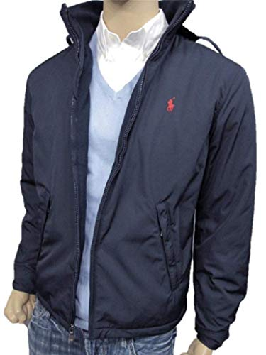 (Polo Ralph Lauren Mens Perry Lined Winter Jacket (L, Navy Red Pony))