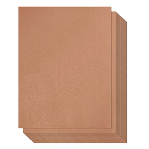 Bronze Paper – 96-Pack Metallic Papers, Shimmer Papers, Double Sided, Laser Printer Compatible, Perfect for Weddings, Baby Showers, Birthdays, Craft Use, 8.5 x 11 Inches