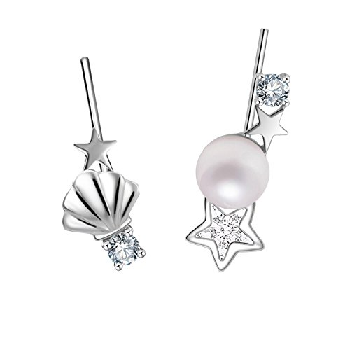 YAN & LEI Sterling Silver Seashell,Swarovski Crystal Star and Freshwater Pearl Asymmetric Ear Crawler Color Silver