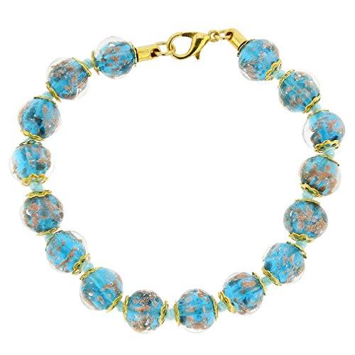 GlassOfVenice Murano Glass Sommerso Bracelet - Teal - Italy Murano Glass