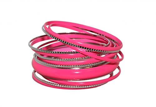 Neon Pink Faux Rhodium Enamel Textured Bangle Set. Other colors available