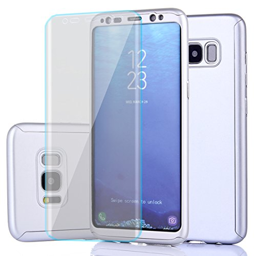 Price comparison product image Samsung Galaxy S8 Plus Case,Full Body Protection Ultra Thin Hard PC Case with A Soft HD Screen Protector Anti Scratch Removable Hybrid Cover for Galaxy S8 Plus(Sliver-1)