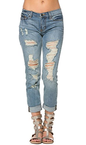 Destructed Boyfriend Jeans in Light Blue Boyfriend Cut Jeans