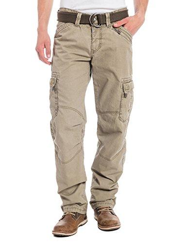 Timezone Herren Straight Leg Hose BenitoTZ cargo pants incl. belt, Gr. W34/L34, Beige (dirty sand 6166)