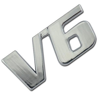 Chrome Metal V6 Liter Engine Race Motor Swap Emblem Badge For Trunk Hood Door for Mitsubishi Mighty Max (Mitsubishi Mighty Max Hood compare prices)