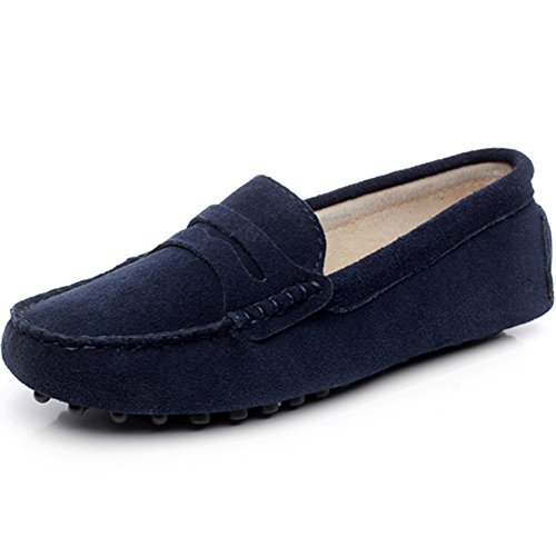 rismart Women's Classic Suede Driving Loafers Shoes Soft Leather Moccasin Slippers Navy 24208 (Navy Suede Moccasins)
