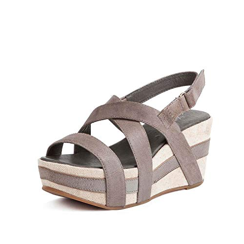 Antelope Women's 819 Grey Leather Crossed Classics Wedge Sandals 39