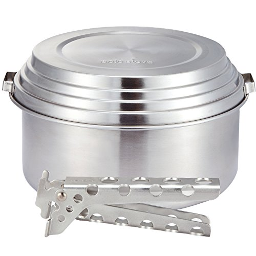 Solo Stove 3 Pot Set - Stainless Steel Camping & Backpacking Cookware Great for Use with Solo Stoves. Lightweight Aluminum Pot Gripper Included.