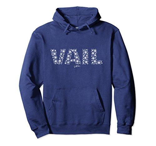 Unisex JCombs: Vail, Colorado in Snowflakes Hoodie Small Navy (Sweatshirt Hoodie Snowflake)
