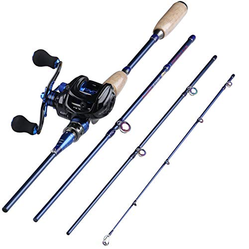 Sougayilang Fishing Baitcasting Combos, Lightweight Carbon Fiber Fishing Pole and 9+1BB Corrosion Resistant Bearings Fishing Reel-Right Hand for Travel 4-Piece Salt Fresh Water. ... ...