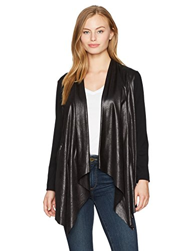 Ruby Rd. Women's Petite Open Front Faux Leather Cardigan with Stretch Ponte Sleeves, Black, PET Large
