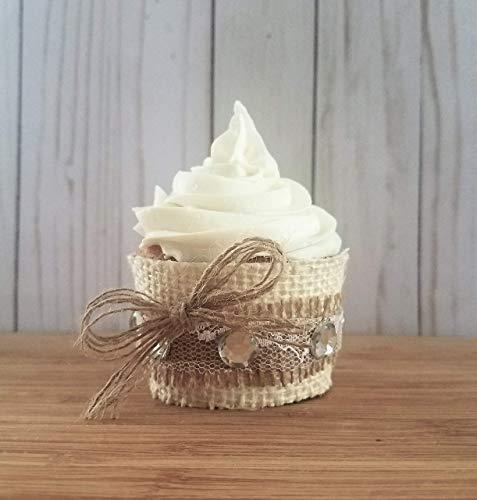 Rustic Cupcake Wrappers, Burlap Cupcake Wrappers For Rustic Baby Shower, Rustic Wedding Cupcake Liner, Burlap Bridal Shower Sleeves Set of 12 ()
