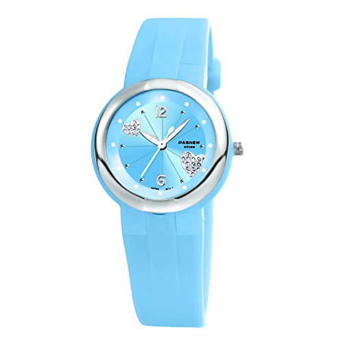 Girls Watches for Teenage Casual Dress Watch Waterproof with Second Hand for Age 7-16 Light Blue -
