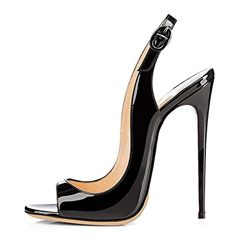 Onlymaker Women Peep Toe Heeled Sandals Slingback High Heel Stiletto Pumps for Party Dress Black 10 M ()