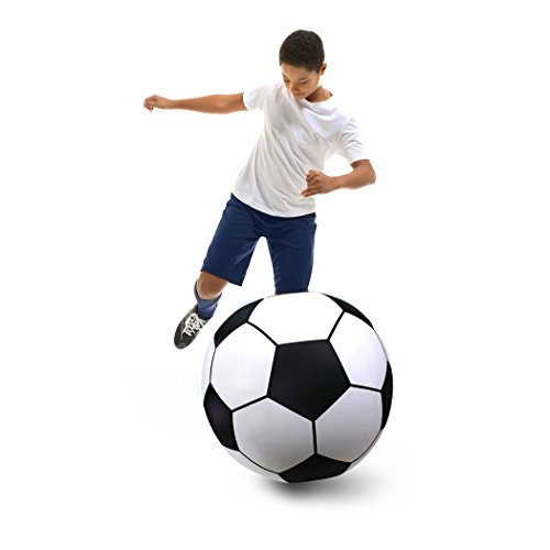 GoFloats Giant Inflatable Soccer Ball - Made From Premium Raft Grade Vinyl, Black & White 2.5' ()