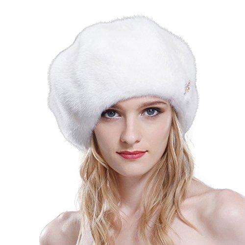 URSFUR Mink Fur Women's Beret Fur Hat Shinning Brim White