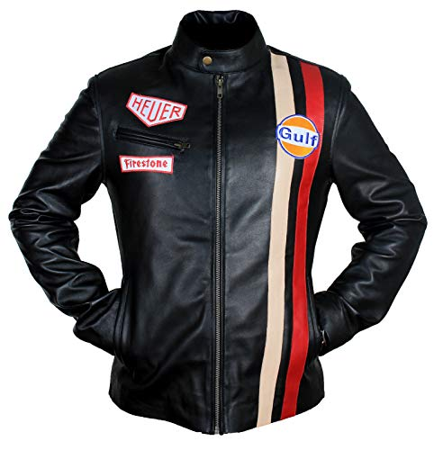 - Men's Steve McQueen Le Mans Gulf Racing Style Stripes Leather Jacket (Black - Steve McQueen Le Mans Leather Jacket, X-Large/Body Chest 44