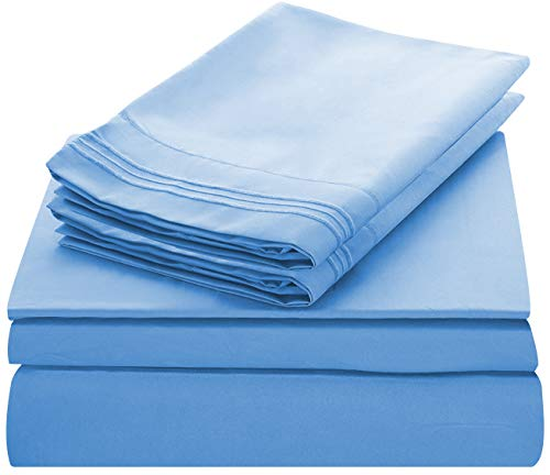 (Lux Decor Collection Bed Sheet Set - Brushed Microfiber 1800 Bedding - Wrinkle, Stain and Fade Resistant - Hypoallergenic - 4 Piece (Queen, Embroidery Blue))