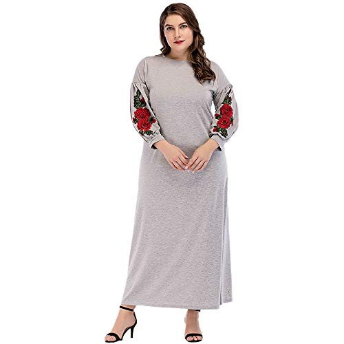 Femme Dress Musulmano Con Toogoo Stile Da Donna Maniche Maxi A Lanterna M Casual Manica Stampa Abito Floreale Lunga Lunghe Oversize GzLMpqSVjU