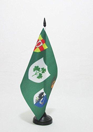 (AZ FLAG IRFU Ireland Rugby Table Flag 5'' x 8'' - Irish Rugby Football Ireland Desk Flag 21 x 14 cm - Black Plastic Stick and Base)