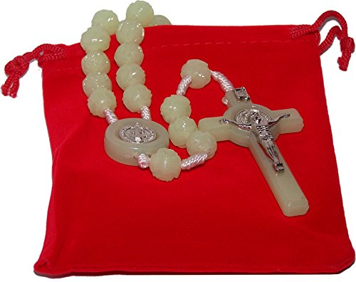 (Light in The Dark Phosphorous Luminous Saint Benedict Rosary/Necklace with Velvet Bag)