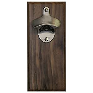 Magnetic Bottle Opener - Solid Walnut with Brushed Nickel Opener