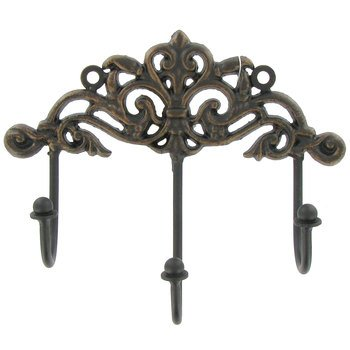 """""""ABC Products"""" - Primitive Design - Cast Iron - Three Hook Scroll Work - Wall Hanger - (Rustic Dark Bronze Finish - Hang By Two Screw)"""