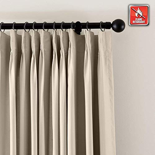 (cololeaf Fireproof Flame Retardant Thermal Insulated Curtain Drapery Panel Pinch Pleat, Beige 84