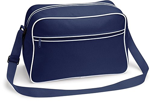 Navy Shoulder Bagbase Retro Bag White French 57AIqA