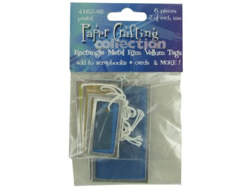 bulk buys - Pastel rectangle vellum tags with metal rims pack of 6 ( Case of 96 )
