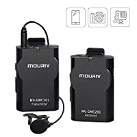Newest MOURIV MV-GMC201 2.4G Universal Lavalier Wireless Microphone System Lapel Mic with Real-time Monitor for DSLR Camera, Camcorder, IOS iPhone, Android Smartphone Phone, Tablet, Gopro 3,3+, 4