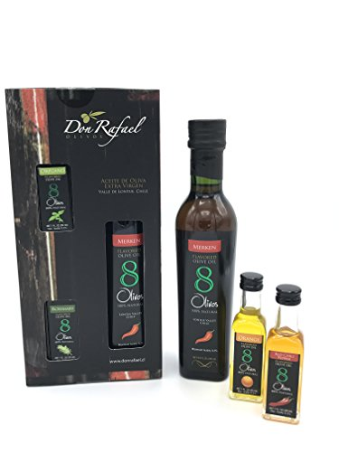 8Olivos Premuim Extra Virgin Flavored Olive Oil Gift Set Award Winning Tri-Pack Cold Press (Merken)