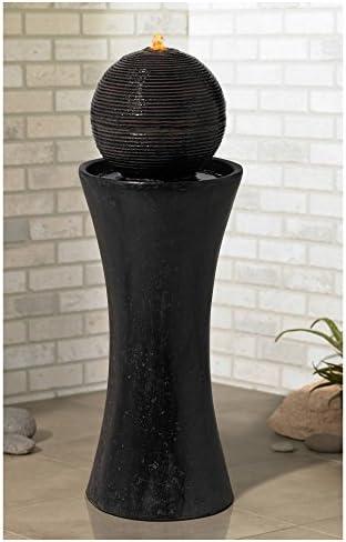 John Timberland Dark Sphere Modern Zen Outdoor Floor Water Fountain