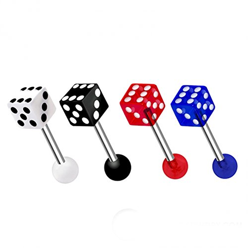 Dynamique Acrylic Dice End 316L Surgical Steel Barbell (Sold Per Piece)