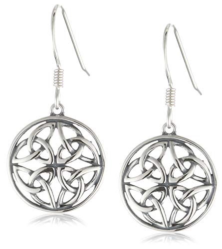 Celtic Earring - Sterling Silver Oxidized Celtic Knot Round Drop Earrings