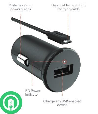 Turbo Fast Powered 15W Motorola Moto X Pure Edition (2015) SmartPhone Car Charger with Detachable Hi-Power MicroUSB Cable!