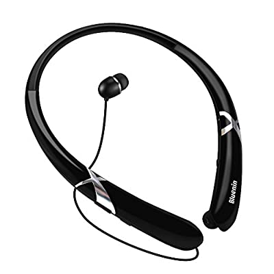 Bluetooth Headphones Retractable Earbuds Neckband Wireless Headset Sports Sweatproof Earphones with Mic (Bluetooth 4.1,Noise Cancelling , 14 Hours Play Time)