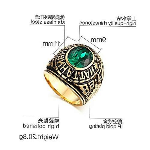 Wood Mirror Jasper - Campton Popular Size 7-11 Green Emerald Stainless Steel Mens Cool Punk Wedding Ring   Model RNG - 354   8