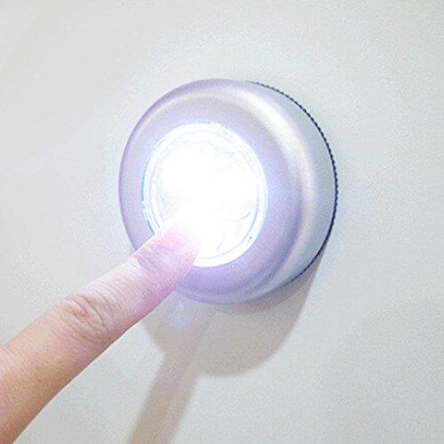 Bhbuy 3 LEDバッテリーPoweredスティックキッチンキャビネットクローゼット壁ライトNightタッチランプ B01LZL5AMH