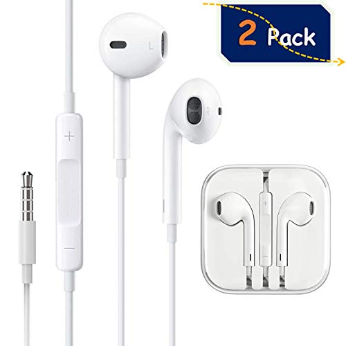 (2 Pack) Headphones/Earphones/Earbuds, ebasy 3.5mm Wired Headphones Noise Isolating Earphones with Built-in Microphone & Volume Control Compatible with iPhone iPod iPad Samsung/Android / MP3 MP4 ()