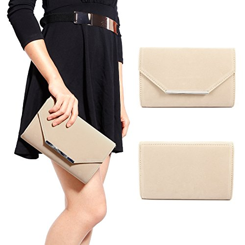 Beige Flap Anladia Women Bar Top Strap Chain Envelope Handbag Tone Velvet Silver Metal Clutch O5A5HBrqwz