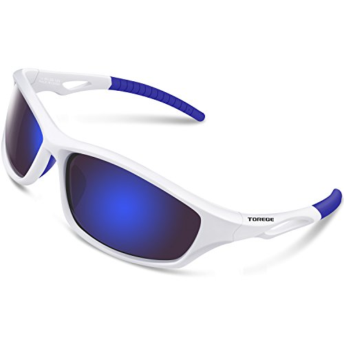TOREGE Polarized Sports Sunglasses for Men Women for Cycling Running Fishing Golf TR90 Unbreakable Frame TR010 (White&Blue Tips&Blue Lens)