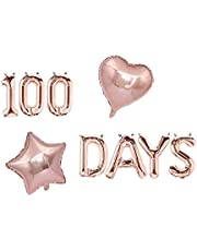 AnnoDeel 100 DAYS Foil Balloons Banner, 18inch Rose Gold 100 Days Mylar Balloons for Happy Themed Baby Shower Wedding Party Supplies Decorations