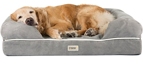 Friends Forever Orthopedic Dog Bed Lounge Sofa Removable Cover 100% Suede 4″ Mattress Memory-Foam Premium Prestige Edition 36″ x 28″ x 9″ Pewter Grey
