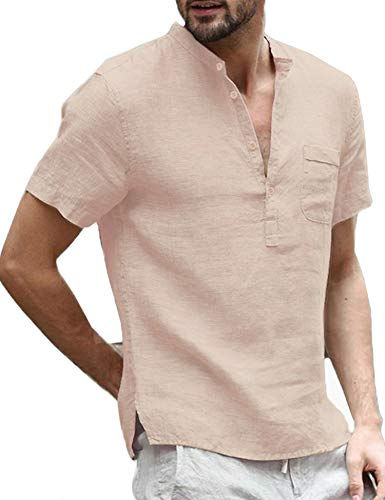Daupanzees Mens Casual V Neck Linen Short Sleeve Hippie Shirts Banded Collar Henley T Shirts Tops with Buttons Khaki