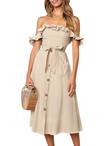 Miessial Women's Striped Linen Long Dress Elegant Ruffle Cap Sleeves Midi Dress (8, Khaki)