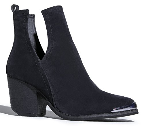 Western Slip On V-Cut Out Stacked Heel Bootie - Side