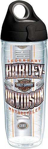Motorcycle Bottle Water (Tervis 1239161 Harley Davidson-Chrome Wing Logo Insulated Tumbler with Wrap and Black with Gray Lid, 24oz Water Bottle, Clear)